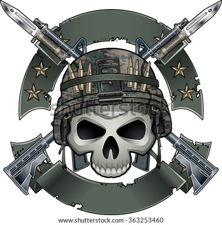 skull with army helmet crossing assault rifles with fixed bayonets and banners - stock vector