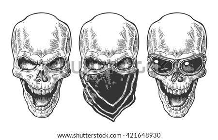 Skull with bandana. Black vintage vector illustration. For poster and tattoo biker club. Hand drawn design element isolated on white background - stock vector
