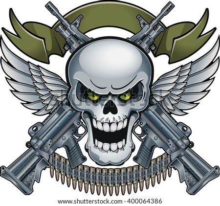 Cool Skull Logos With Guns Skull Banner Wi...