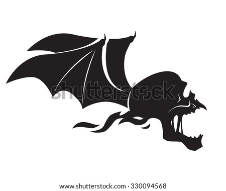 skull with bat wings - stock vector