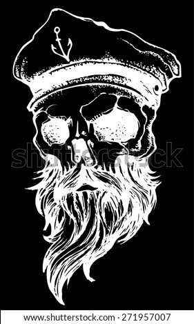 skull with beard and captain hat