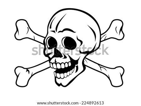 Skull with bones for tattoo design or pirate concept