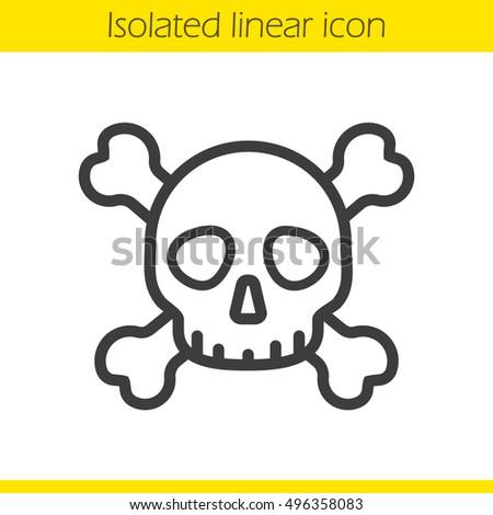 Skull Crossbones Linear Icon Death Sign Stock Vector Royalty Free