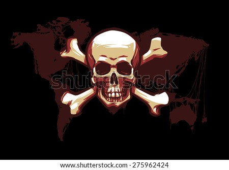 skull with crossbones on the world map
