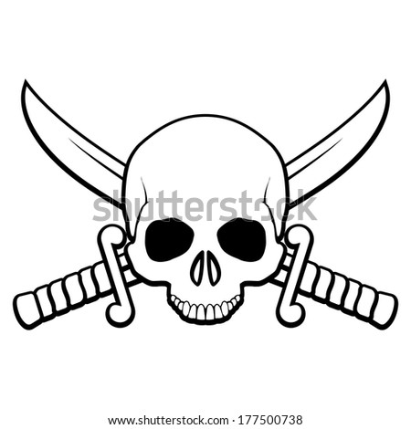 Skull with crossed sabers. Illustration of pirate symbol in black-and-white - stock vector