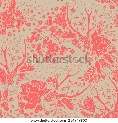 Skull with floral ornament on dark  background . Vector illustration - stock vector
