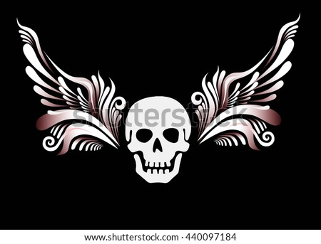 Skull with floral wings. Motor club emblem, design tattoo. Vector