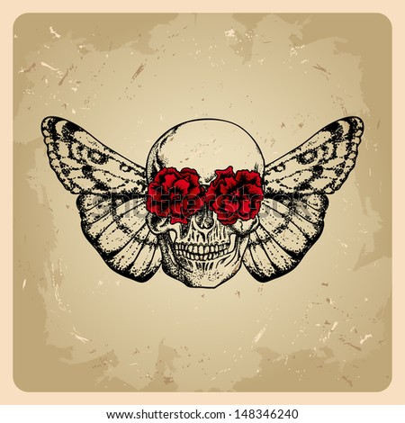 skull with flowers and a moth in a tattoo style  - stock vector