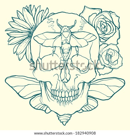 skull with flowers and insects - stock vector