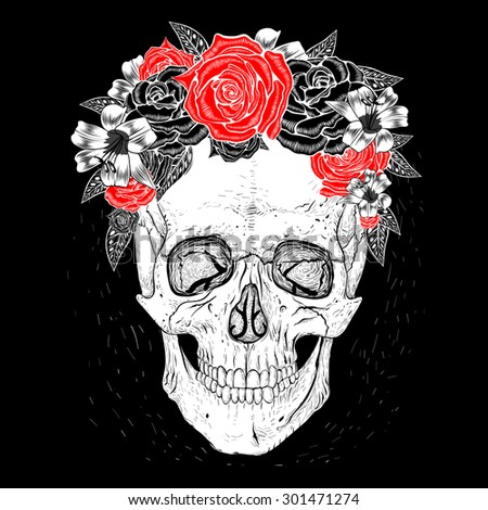 Skull with flowers,.Black background. - stock vector