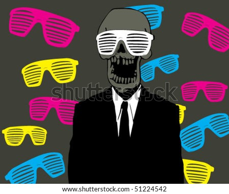 skull with glasses. - stock vector