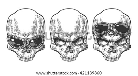 Skull with glasses for motorcycle. Black vintage vector illustration. For poster and tattoo biker club. Hand drawn design element isolated on white background - stock vector
