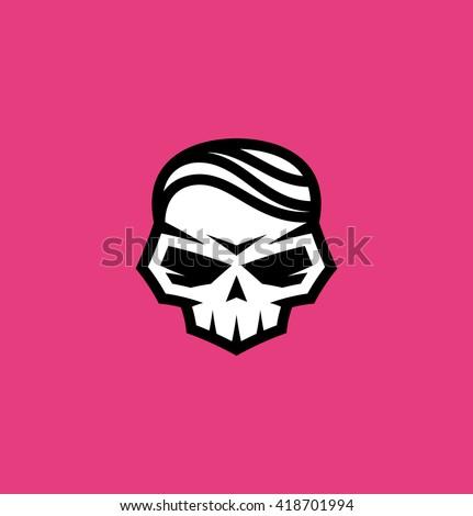 Skull with hair - stock vector