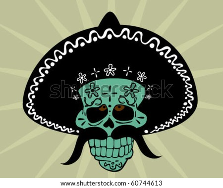 skull with hat. - stock vector