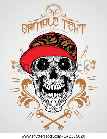 Skull with Hats Ornaments Illustration