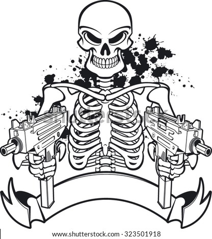 skull with machine guns and banner - stock vector