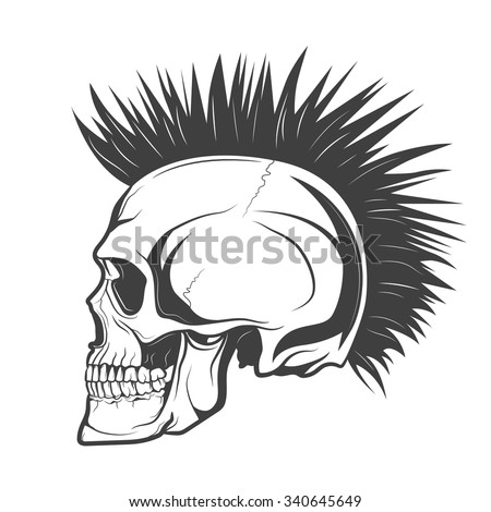 Skull Mohawk Hairstyle Stock Vector 340645649 - Shutterstock