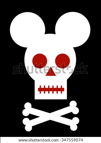 Skull with mouse ears - stock vector