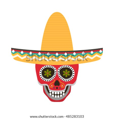 Skull with ornaments in a Mexican sombrero on a white background is insulated and easy to demonstrate how. flat vector illustration