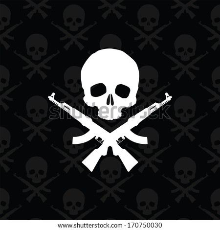 Skull with rifles - stock vector