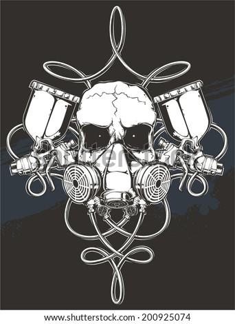 skull with spray gun - stock vector