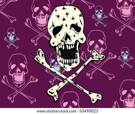 skull with stars. - stock vector