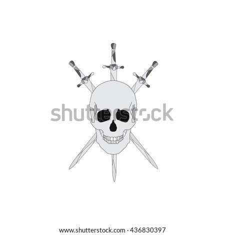 skull with three swords. a symbol of strength.