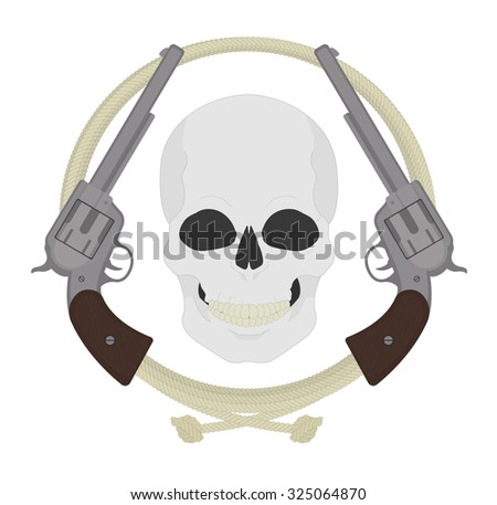 Skull with two revolvers and lasso emblem. Wild west dead bandit clip art. Smiling skeleton head with two pistols in lariat circle. Western outlaw banner. Vector color illustration isolated on white  - stock vector
