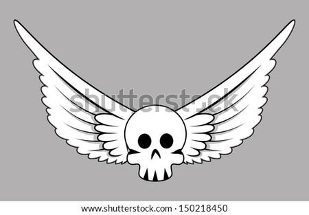 Skull with Wings - Vector Cartoon Illustration - stock vector