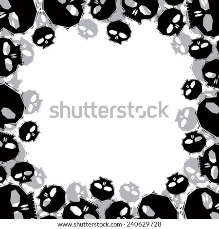 Skulls border made in contemporary geometric style, vector background.