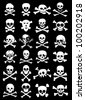 Skulls & Corssbones Vector Collection in Black Background - stock vector