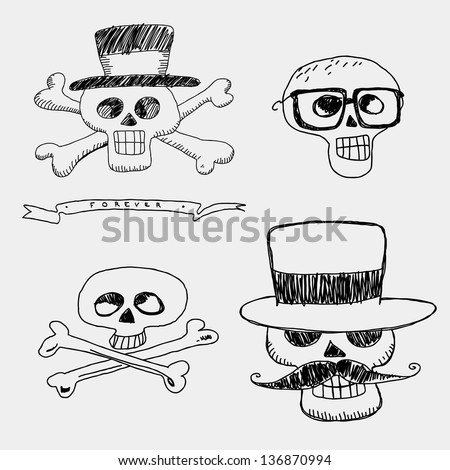 Skulls in the hat with mustache and glasses - stock vector