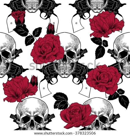 Skulls red roses pistols vector seamless pattern stock photo photo skulls red roses and pistolsctor seamless pattern voltagebd Gallery