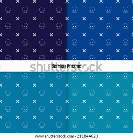 Skulls seamless pattern, 4 color set. Halloween. Vector - stock vector