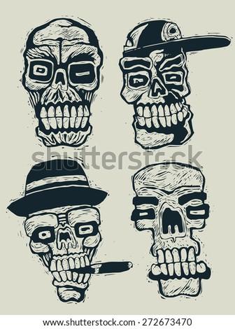 skulls set. engraving style. vector illustration. - stock vector