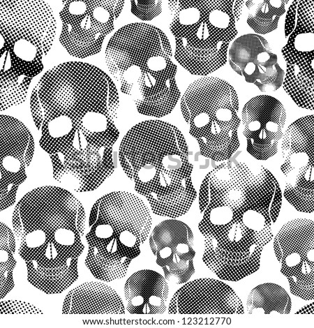 Skulls with halftone print texture seamless background, black and white vector illustration. - stock vector