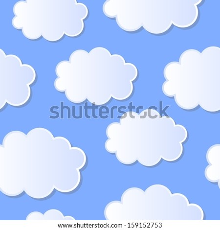 Sky and clouds seamless pattern.