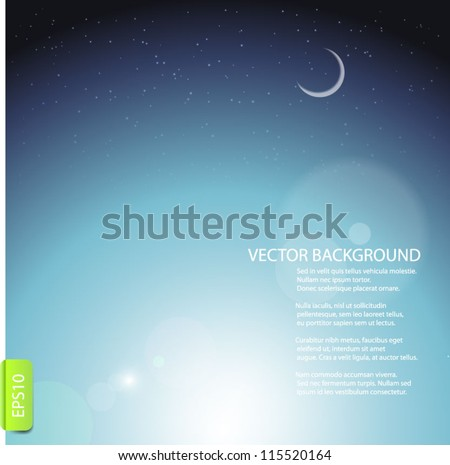 Sky background with bright stars and moon. - stock vector