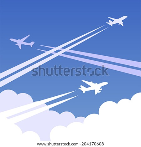 Sky background with clouds and airplanes with traces. Vector illustration, easy editable. - stock vector