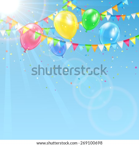 Sky background with colorful balloons, pennants and confetti, illustration. - stock vector
