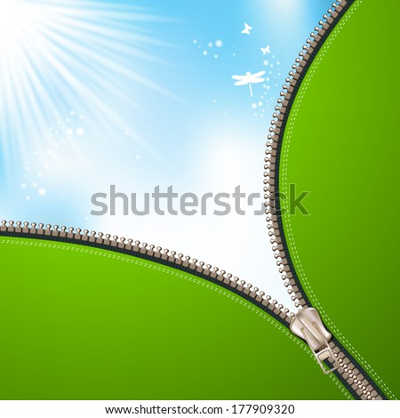 Sky background with zipper - stock vector