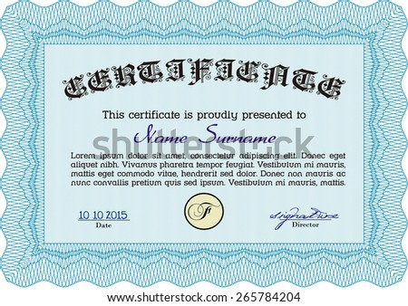 Sky blue certificate or diploma template