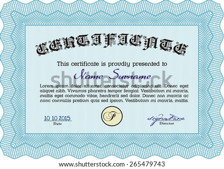 Sky blue Vector illustration of detailed certificate (diploma)