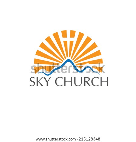 sky church concept - stock vector