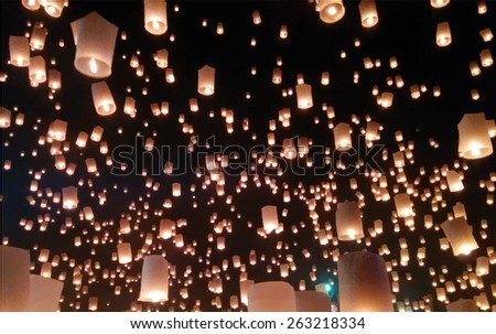 Sky lanterns firework festival, Chiang Mai, Thailand, Loy Krathong and Yi Peng Festival. Vector background - stock vector
