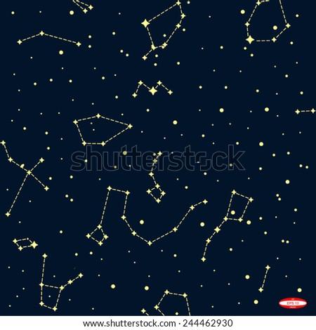 Sky Map Northern Hemisphere On Dark Stock Vector - Star map northern hemisphere