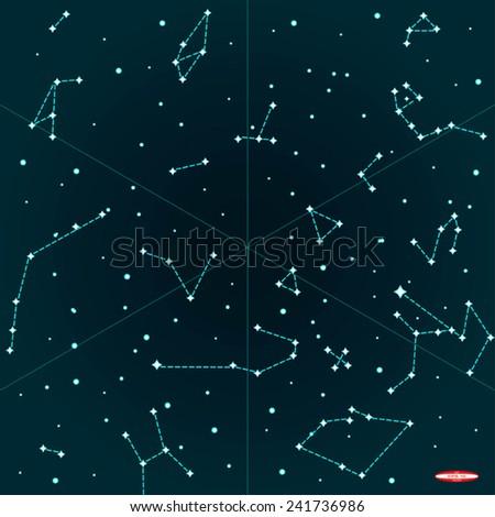 Sky Map Southern Hemisphere On Dark Stock Vector - Dark sky map