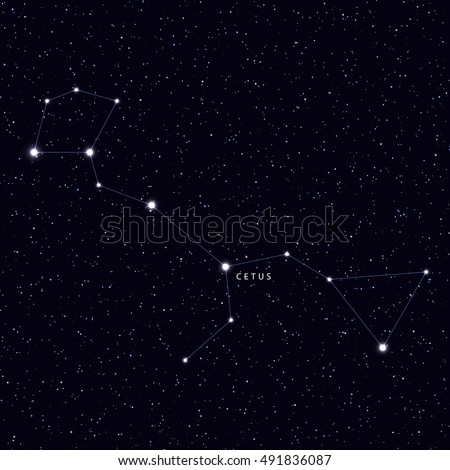 Sky Map with the name of the stars and constellations. Astronomical symbol constellation Cetus