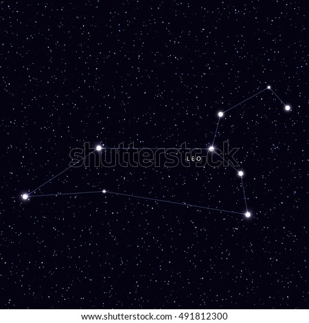 Sky Map with the name of the stars and constellations. Astronomical symbol constellation Leo