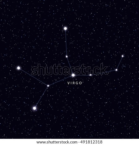 Sky Map with the name of the stars and constellations. Astronomical symbol constellation Virgo
